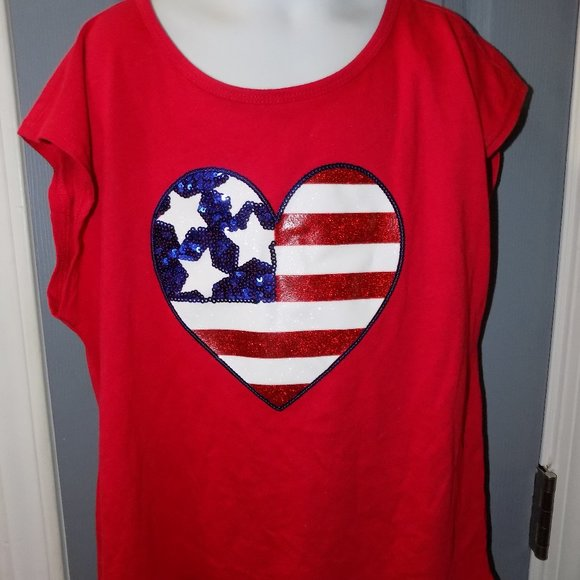 The Children's Place USA Red Sequin Flag Heart